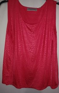 Bright Coral Red Shiny Top 1X Plus
